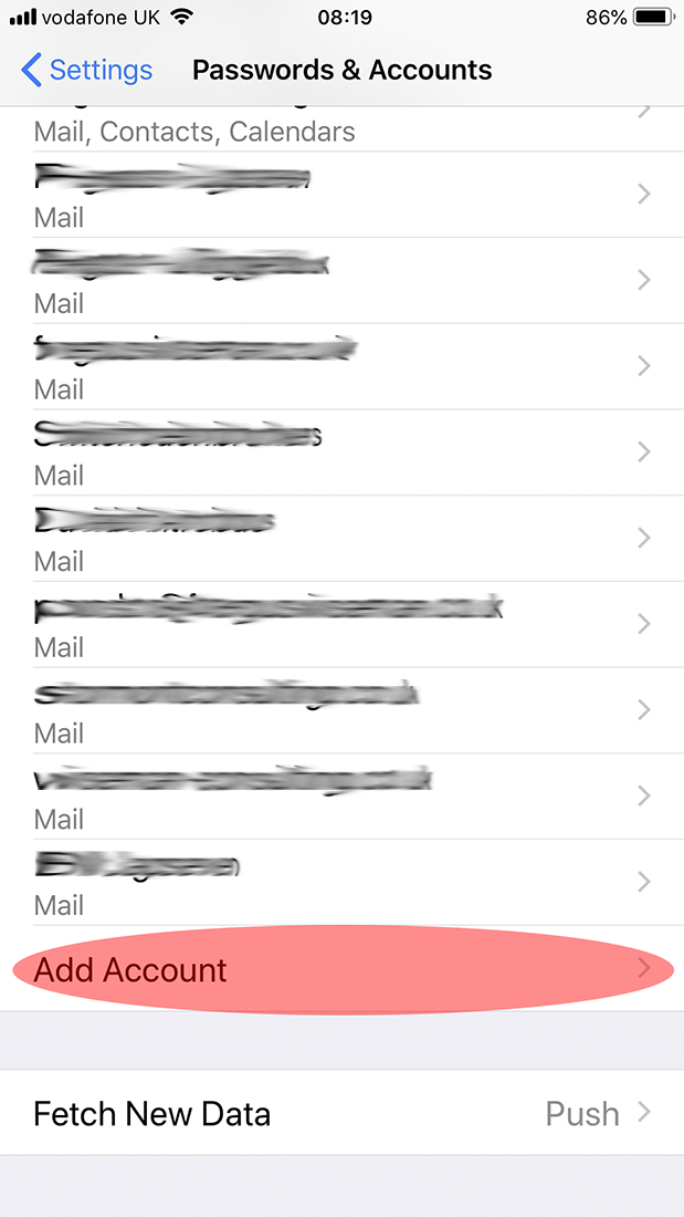 configuring email on iphone